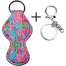 Lipstick Holder Keychain,Neoprene Chapstick Holder Double Lace Keychain (Basketball) (coral)