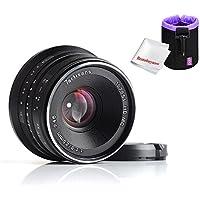7artisans 25mm F1.8 Large Aperture Portrait Manual Focus Lens for Fuji Cameras,with Caden Lens Pouch Bag,Black