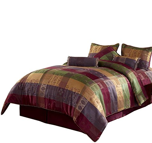 (Chezmoi Collection Gitano Jacquard Patchwork 7-Piece Bedding Set, Queen, Multi Color )