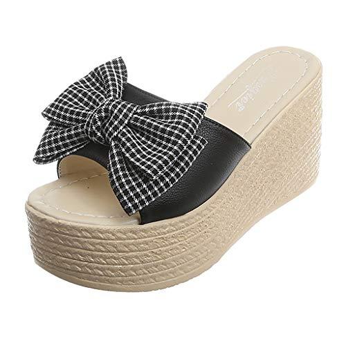 LOVOZO PlaidWomenLadies Bow Knot Peep Toe Platform Wedges Sandal Shoes Slipper Black