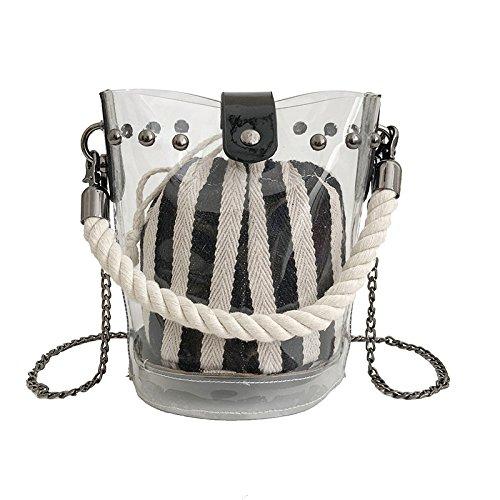 2018 Moda Chicas Verano Transparente Jalea Bolso Cadena Mini Caramelo Bolso Bolso Bolso Del Cubo Bolso Del Cuerpo Cruzado Striped
