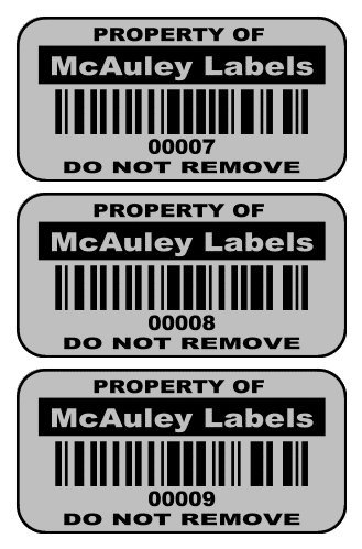 2000 Custom 1.5'' x .75'' Metalized Silver Polyester Asset Tags / Labels Various Quantities ''Featuring Easy Do It Yourself Design'' by McAuley Labels