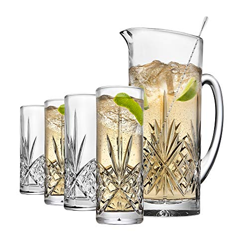 Godinger Barware Beverage Set - Mixing Pitcher Carafe, Stirrer and 4 Collins Tall Drinking Glasses - Dublin Collection ()