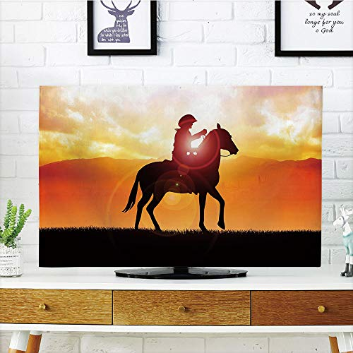 Americana Duck (LCD TV dust Cover,Western,Silhouette Cowboy Riding a Horse During Vibrant Sunset Sky Americana Landscape Decorative,Orange Black,3D Print Design Compatible 47
