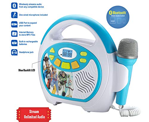 Toy Story 4 Bluetooth Sing Along Portable MP3 Player Real Working Microphone Stores Up To 16 Hours of Music with 1 GB Built In Memory USB Port To Expand Your Content Built In Rechargeable Batteries by eKids (Image #1)