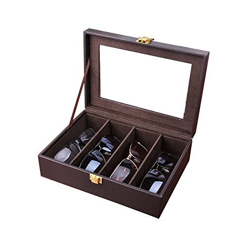 Aco&bebe House 8-Slot Eyeglass Sunglass Glasses Organizer Collector - PU Leather Jewelry Storage Case Box (Brown-4 (Bebe Brown Sunglasses)