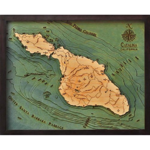Catalina Island 3-D Nautical Wood Chart 16 X 20