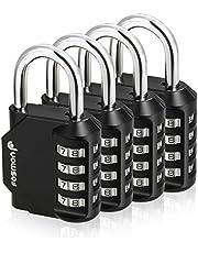 Fosmon Combination Lock (4 Pack) 4 Digit Combination Padlock with Alloy Body for School, Gym Locker, Gate, Bike Lock, Hasp and Storage - Black
