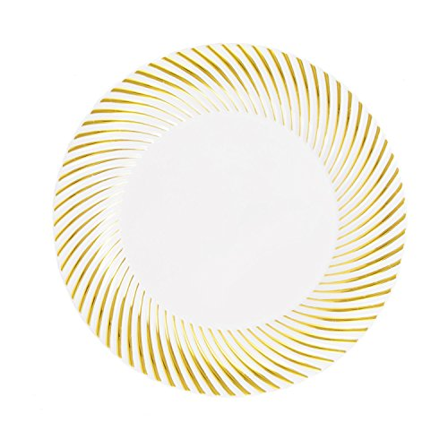 Swirl White Salad Plate - Party Essentials N984025 40-Count Hard Plastic 9
