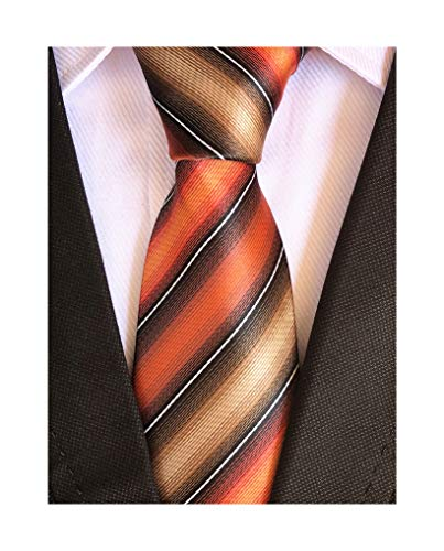 Elfeves Men's Modern Striped Patterned Formal Ties College Daily Woven Neckties (One Size, Orange Black Tan) ()