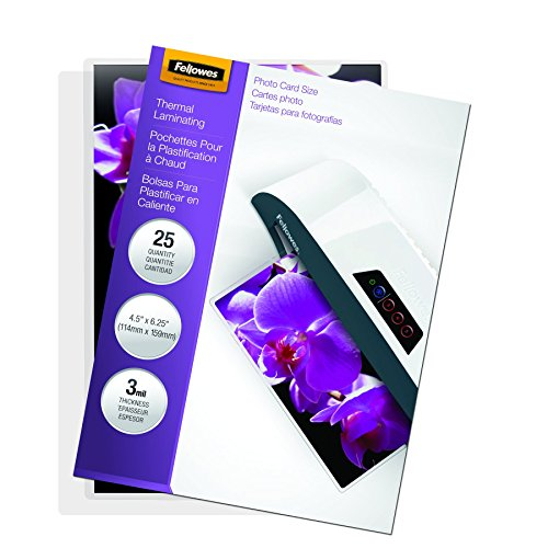 Fellowes Laminating Pouches, Thermal, Photo Size, 3 Mil, 25 Pack (5208301)