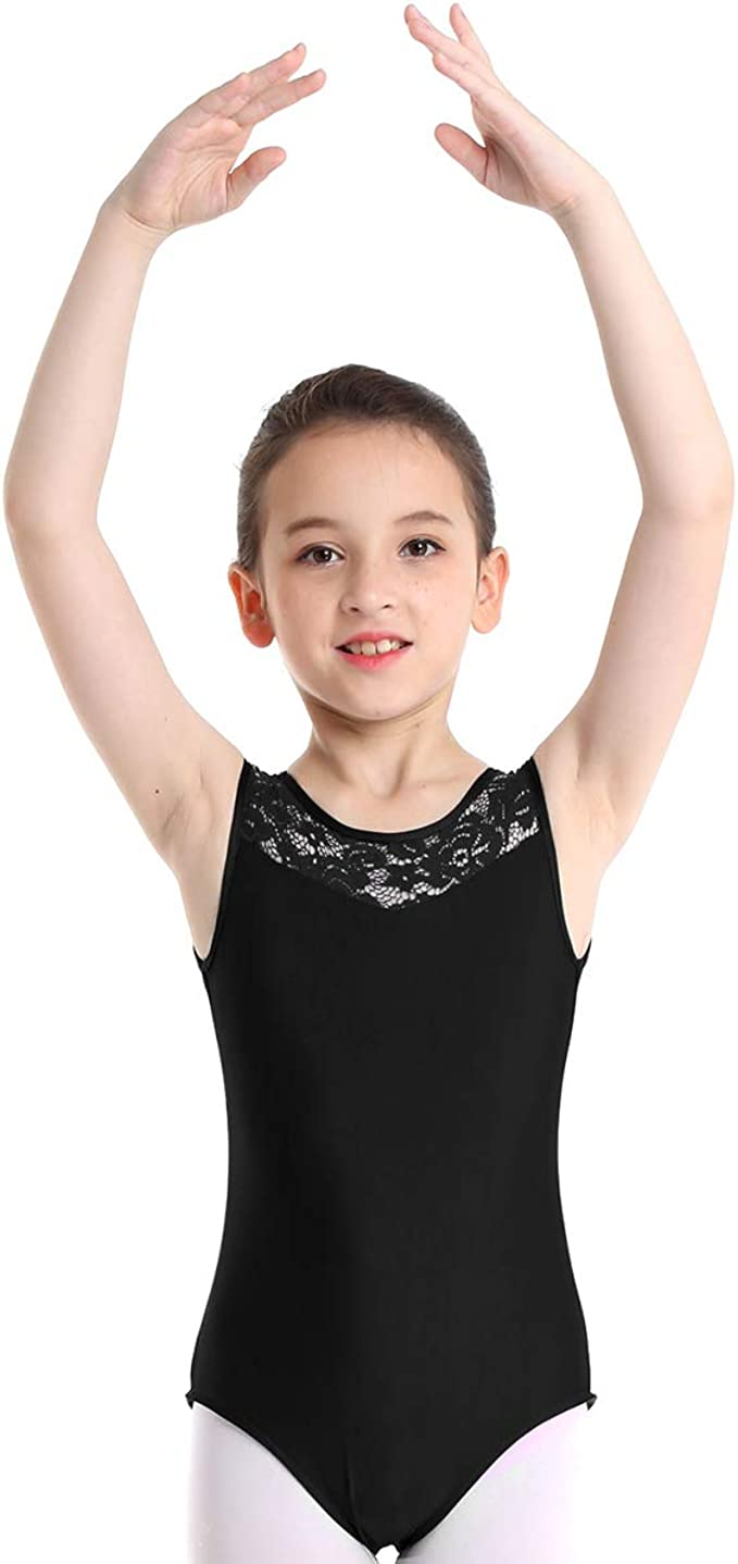 Yartina Kids Girls One Piece Floral Lace Cutout Back Ballet Dance Gymnastics Leotard Dancewear Yoga Sports Jumpsuit