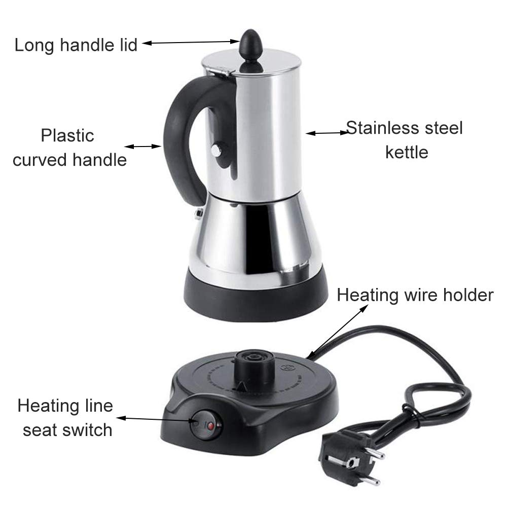 FenRui Stainless Steel Coffee Pot/Portable Electric Moka Pot, with Filter and Heat Resistant Handle, for Home/Office or Traveling Use (480W, 300ml, Silver) by FenRui (Image #4)