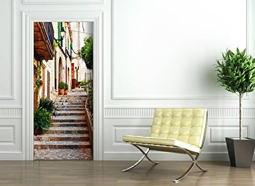Türtapete selbstklebend TürPoster - MALLORCA GASSE - Fototapete Türfolie Poster Tapete