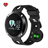 Fatmoon Fitness Tracker, Activity Monitor Sleeping Management Heart Rate monitor Blood pressure Tracker Pedometer Smart Bracelet with IP67 Waterproof OLED Touch Screen for Android and iOS-Black