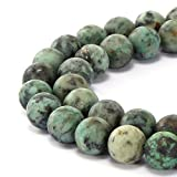 BRCbeads Gorgeous Natural Africa Turquoise Gemstone Smooth Matte Round Loose Beads 10mm Approxi 15.5 inch 35pcs 1 Strand per Bag for Jewelry Making by BRCbeads