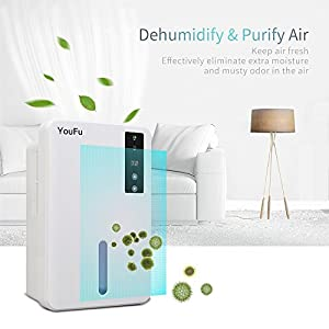 Dehumidifier, 1500ml Tank Powerful Thermo-Electric Intelligent Dehumidifier for Home, Quietly Gathers Up to 400ml - Great For bedrooms, bathrooms, RV, Laudry or basements Approx 1200 Cubic Feet
