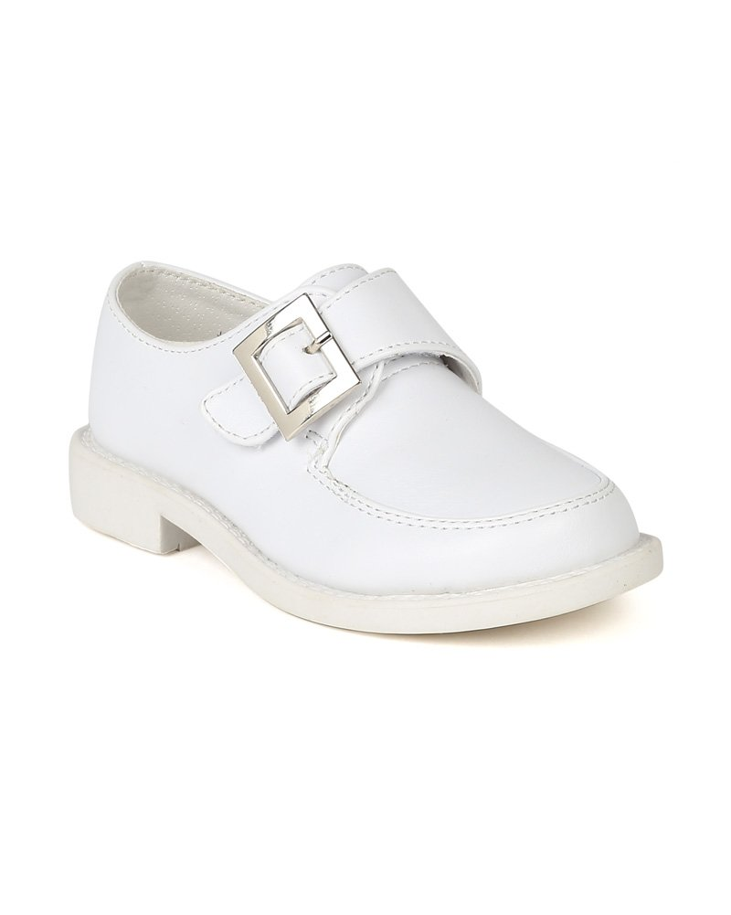 School Rider BC66 Boys Leatherette Velcro Buckle Strap Dress School Shoe - White (Size: Toddler 10)