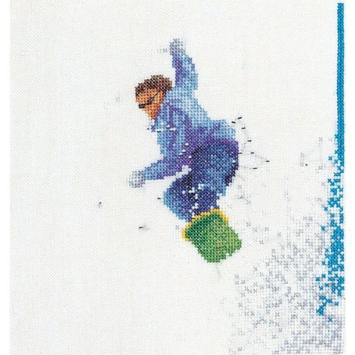 Thea Gouverneur Snowboarder On Aida Counted Cross Stitch Kit-6.25-inch x 6.75-inch 18 Count by Thea ()