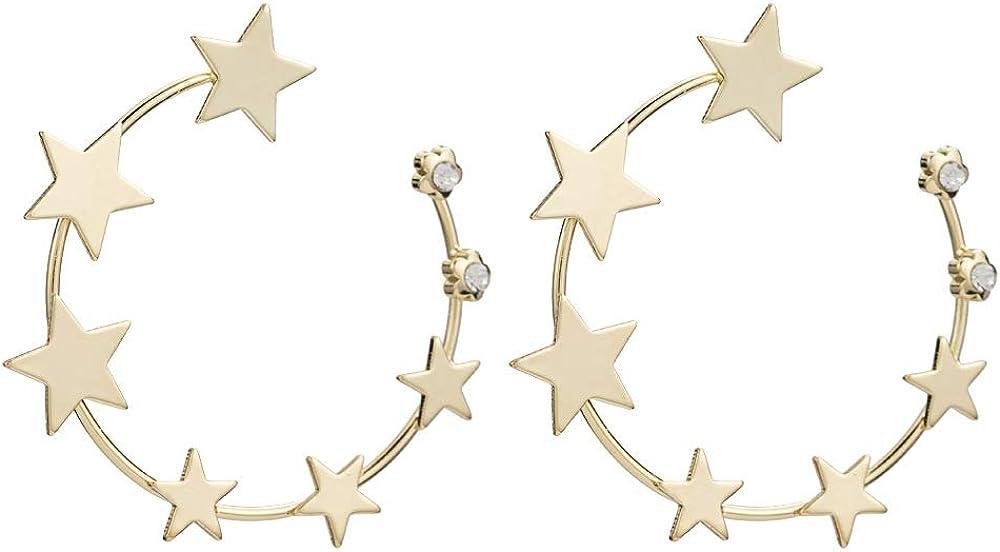SHANGZHIQIN Pendientes de Estrella de Cinco Puntas de círculo Grande de Temperamento, Pendientes de Estrella de Metal de Moda Personalizados, Pendientes Simples de Perlas de Oro
