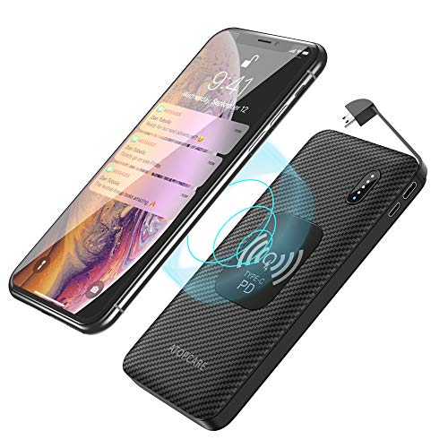 Wireless Power Bank 10,000mAh Qi Portable Charger External Battery Pack with Fast Charging Input&Output 10W, PD 3.0, QC 3.0 Type C for Smartphone, Tablet, MP3, AirPods, (Best Power Portables)