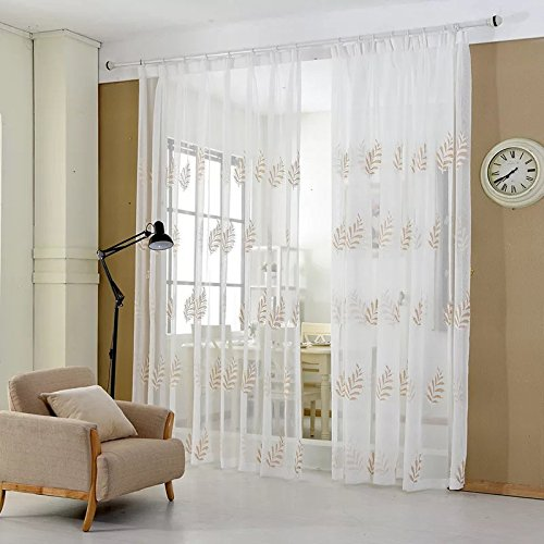 Yiwant Sheer Curtains Leaf Embroidery Grommet Curtains, Door Window Balcony Tulle Room Divider , 52 inchs Width x 108 inchs Length, 2 Panels, White, Style # (1105 Sheer)