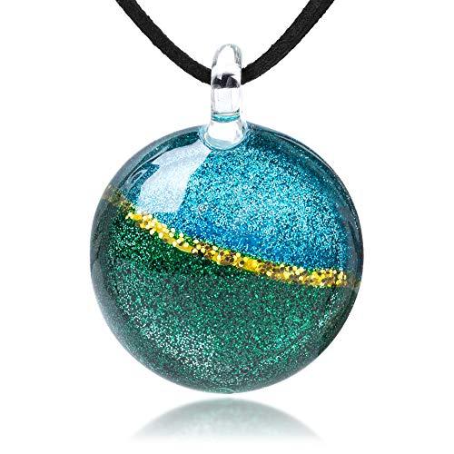 Hand Blown Glass Glitter Horizon Blue Green Gold Round Pendant Necklace, 17-19