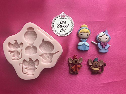 CINDERELLA Disney Silicone Mold Cupcake Toppers Mold By Oh! Sweet Art FDA Approved for Food (Disney Cakes And Sweets)