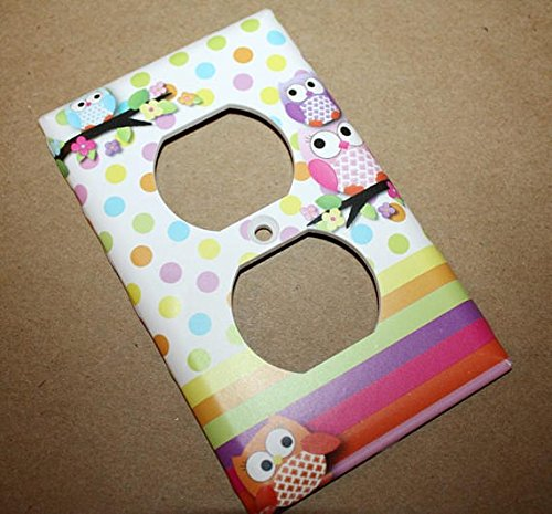 Polka Dot Owl Girls Nursery Bedroom Single Light Switch Cover LS0070 (Double Outlet)