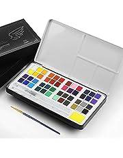 Lankerx Caja de Acuarela Set de Pintura de Acuarelas Sólida Compuesto por 36 Colores Brillantes, para Principiantes y Profesionales