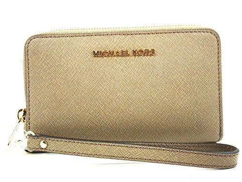 Michael Kors Jet Set Travel Large Flat Multifunction Saffiano Leather Phone Case Wallet Dk Dune