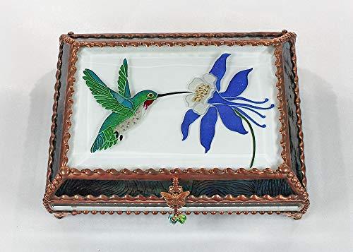 Hummingbird, Stained Glass Jewelry Box, Presentation Box, Keepsake Box, Glass Jewels, Swarovski Crystals, USA Made