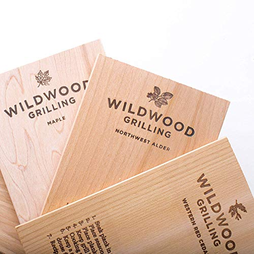 Wildwood Grilling Small Grilling Planks Sampler - 6-Flavor Variety Pack - Cedar, Alder, Cherry, Hickory, Maple, Red Oak - 5