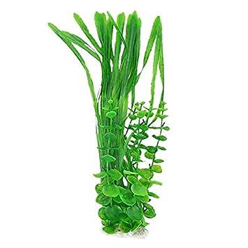 Planta decorativa de acuario - TOOGOO(R)Decoracion de planta de agua de pecera de plastico 16 pulgadas altura Verde: Amazon.es: Productos para mascotas