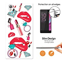 001719 - Girl Stuff Collage Lipstick Sexy Lips Gloss Diamond Ring Blong Design Sony Xperia L1 Fashion Trend CASE Ultra Slim Light Plastic 0.3MM All Edges Protection Case Cover-Clear