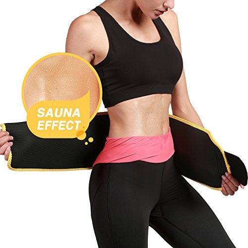 Roseate Waist Trimmer Belt for Men and Women Weight Loss Workout Sweat Wrap Tummy Fat Burner Abdominal Trainer L from Roseate