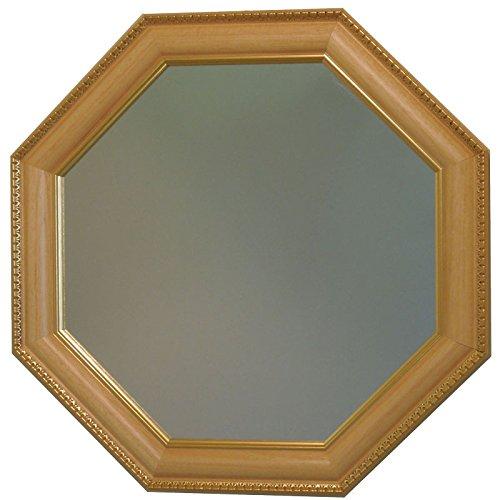 イタリア製 JHAアンティーク風水ミラー (エレガントライトオーク&ゴールド)八角形W495×H495 IG-41 八角ミラー 八角鏡 壁掛け鏡 ウォールミラー B00MNEKRPY
