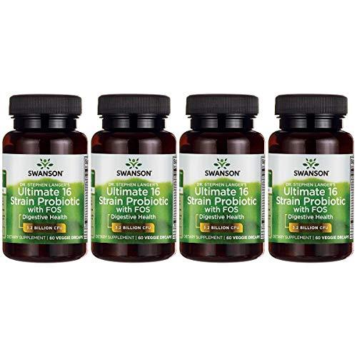Swanson Probiotic with Prebiotic FOS Dr. Stephen Langers Formula Digestive Support 16-Strain Supplement 3.2 Billion CFU 60 Capsules (4 Pack)