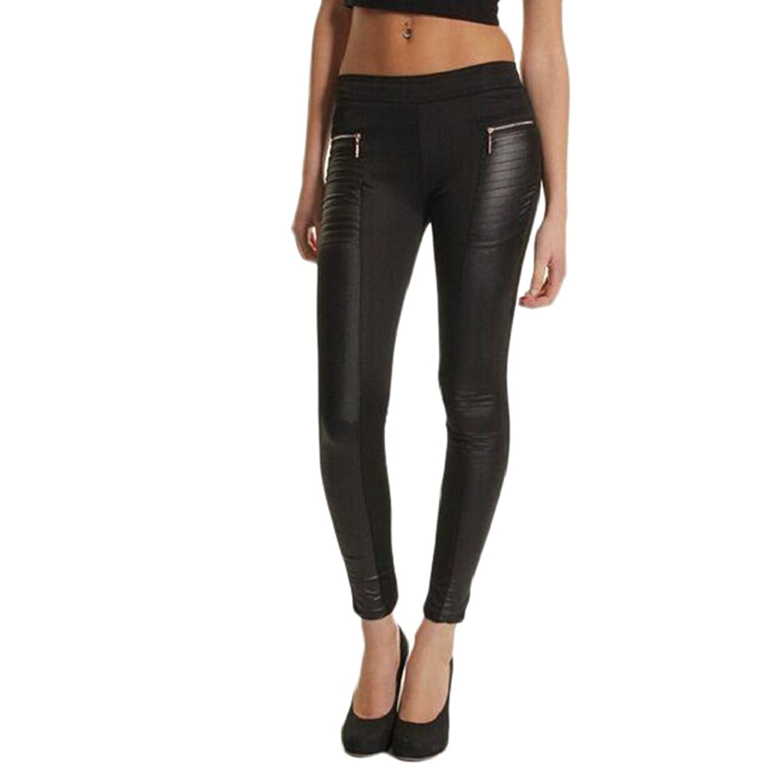 Rukiwa Women Leather Look Panel Leggings Jeggings Zip Black Stretch Trousers