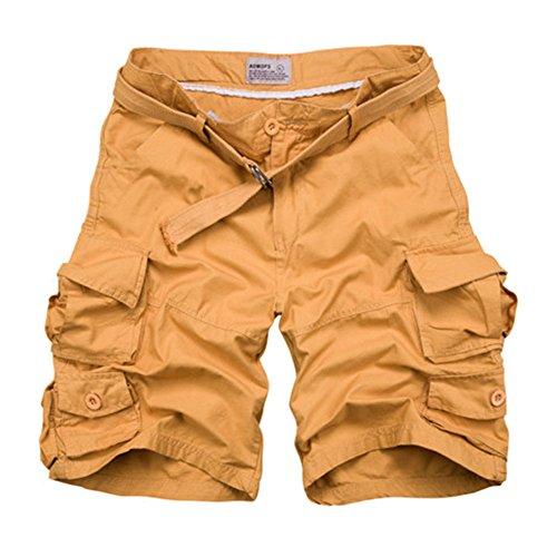 Shorts Cargo, Pantalones Cortos Para Hombre Amarillo