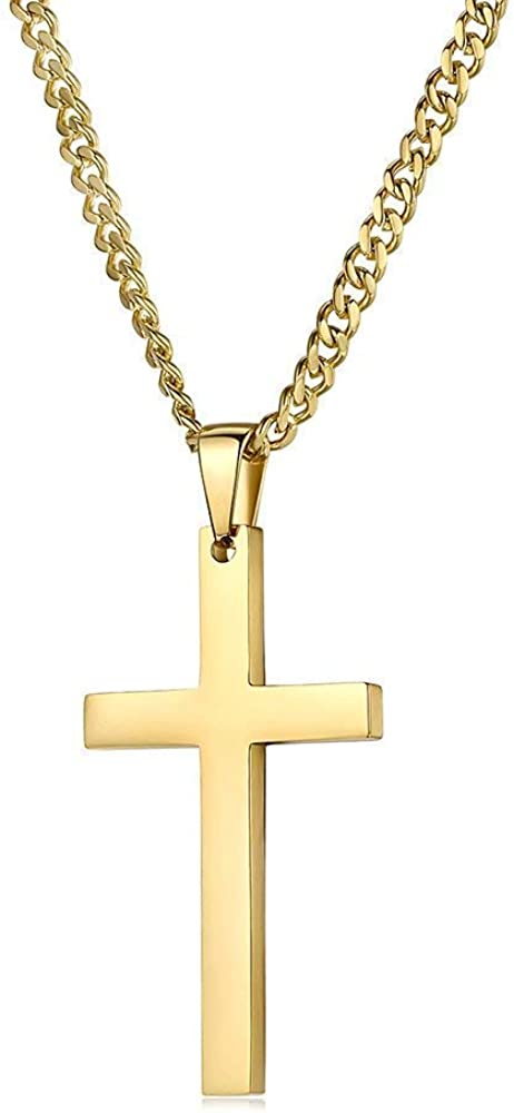 Riveting Jewelry 14K Gold Chain Style Cross Pendant Necklace Solid Clasp for Men,Women,Teens Thin for Charms Miami Cuban Link Diamond Cut