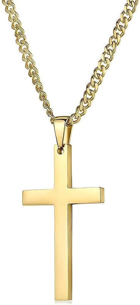 Collar de cadena de oro de 24 quilates con cruz para mujeres y hombres con corte de diamante, estilo hip hop clásico de 24 quilates, collar religioso - durable 2 mm eslabón de eslabón cubano