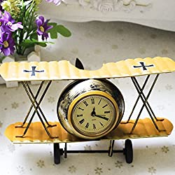 Airplane Table Clock CR Retro Vintage Plane Airplane Model Clock with Lindbergh Aviation Aircraft Clocks Home Decoration Toy gift for children kids (A-Yellow)