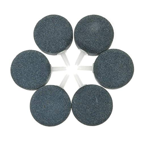 Magic&shell Oxygen Stone 6PCS 1.6Inch Air Stone Bubble for Aquarium Fish Tank Pump Hydroponics Oxygen Plate Ceramic Airs Diffuser