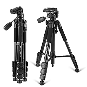 Camera Tripod, KetDirect K111 Aluminum Professional Lightweight Camera Tripods with Rocker Arm Ball Head and Carry Case for Canon Nikon Sony Digital SLR Camera or Video (Black)