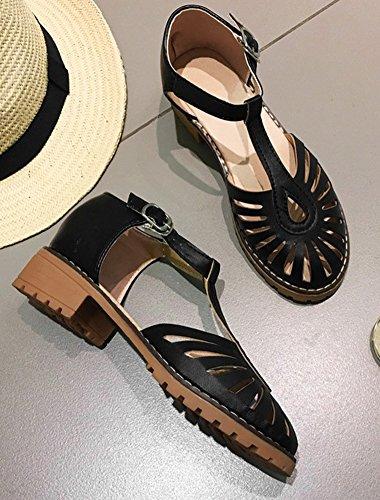 Aisun Sandales Basse Ajourer Salomé Rond Femme Bout Noir Original Fête Ur78f