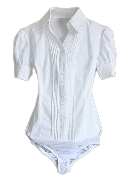 52be13e8fe9483 Soojun Women Short Sleeve Button Down Career Shirt Bodysuit Blouse, (US 0, 1