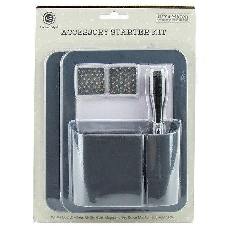 Locker Style Dry Erase Board Value Pack with Marker, Cup, and Magnets - Grey by Locker Style