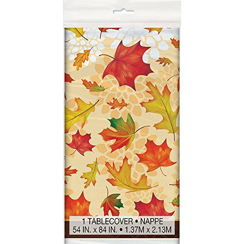 Fall Leaves Plastic Tablecloth, 84