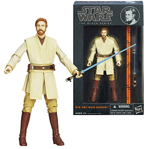Hasbro Year 2013 Star Wars The Black Series 5 Inch Tall Action Figure Set #10 : OBI-WAN KENOBI with Blue Lightsaber